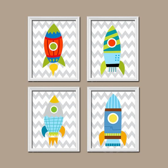 Rocket Boy Wall Art, Nursery Baby Boy Bedroom Pictures, CANVAS or Prints Child Alien Rockets OuterSPACE Ship Theme Set of 4 Nursery