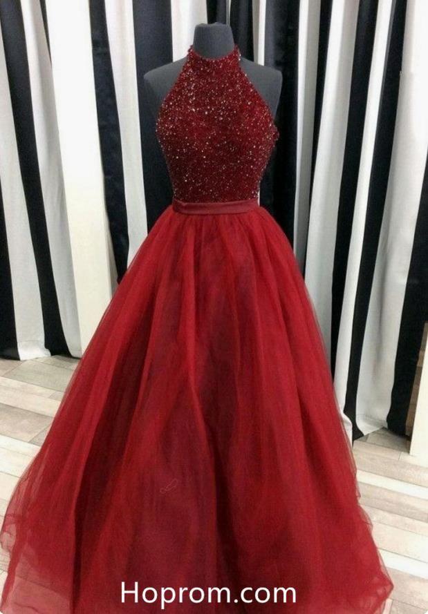 0e86118c96f5 Halter Beading Burgundy Red Prom Dress Tulle Skirt in 2019 | Hoprom ...