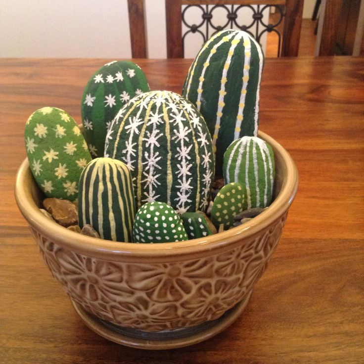 Cactus Rocks Painted Stones Pinterest Cacti Rock And Rock Painting