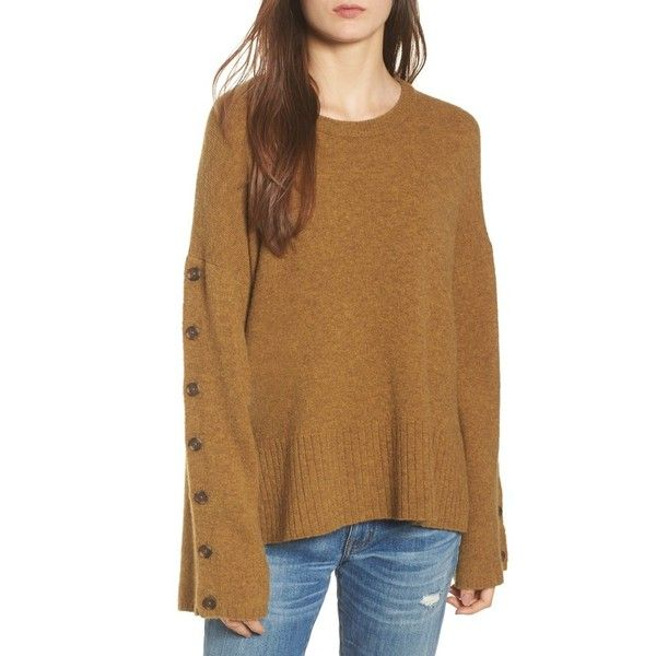 Women's Madewell Button Sleeve Pullover Sweater ($75) ❤ liked on Polyvore featuring tops, sweaters, heather moss, crew-neck sweaters, madewell, brown top, crewneck pullover sweater and sleeve top