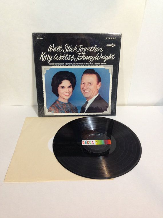Kitty Wells & Johnny Wright We'll Stick Together Vintage Vinyl Record Album LP 1968 Decca Records DL 75026 Stereo by NostalgiaRocks