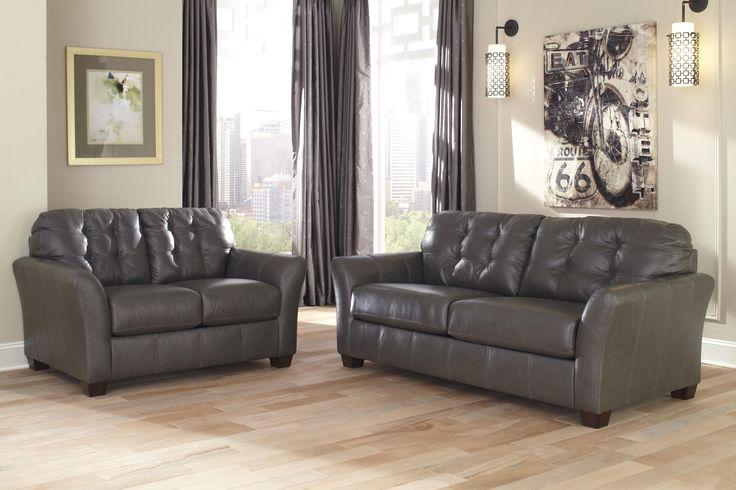Signature Design by Ashley Santigo - Dark Gray Contemporary Leather Match Sofa with Tufted Back - Furniture Mart Colorado - Sofa Denver, Northern Colorado, Fort Morgan, Sterling, CO