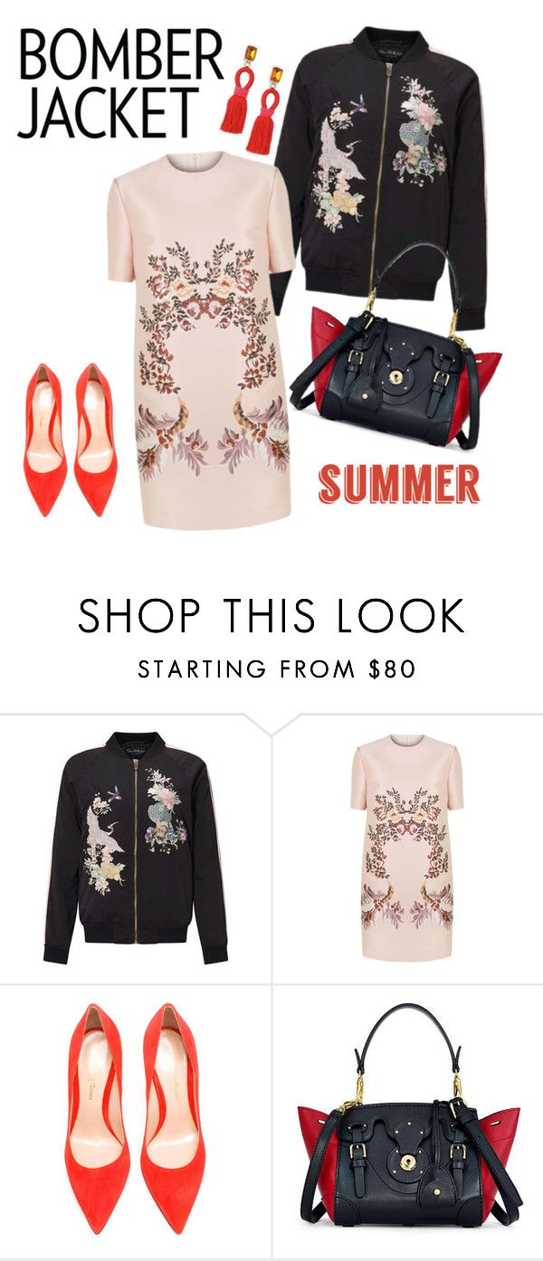 """Chinese style with bomber outfit"" by xu-anastasia ❤ liked on Polyvore featuring Miss Selfridge, STELLA McCARTNEY, Gianvito Rossi, Ralph Lauren, Oscar de la Renta, oriental, chinese and bomberjackets"