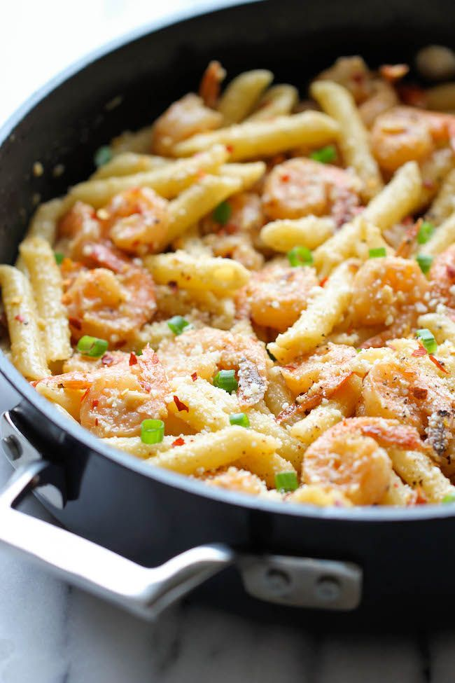 Spicy Parmesan Shrimp Pasta. Skillet dishes call my name because they are usually simple and fast, yet delicious at the same time:) This Shrimp Pasta recipe is no exception.