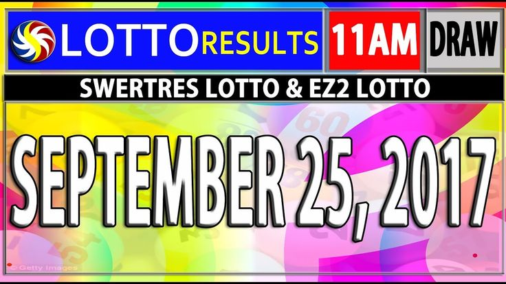 PCSO 11AM LOTTO RESULTS TODAY | SEPTEMBER 25, 2017 (SWERTRES & EZ2 LOTTO)