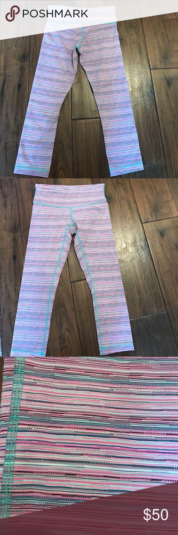 Patterned size 6 cropped lululemon pants pink striped patterned lululemon pants size 6 cropped never worn lululemon athletica Pants Leggings