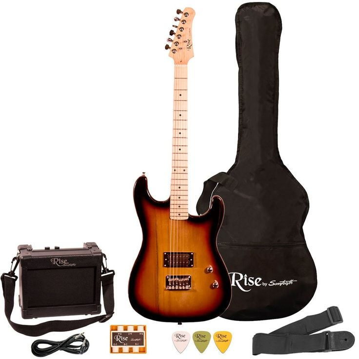 Beginners Electric Guitar For Right Handed W/ Amp + Accessories - W/ Case TAX 0 #Sawtooth
