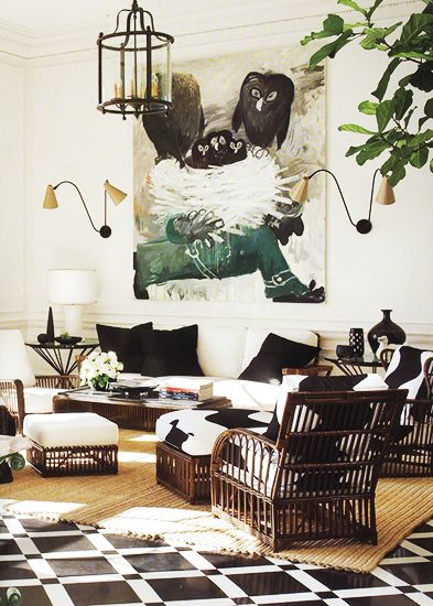 A great combination of texture and colour in this eclectic mix of a room.