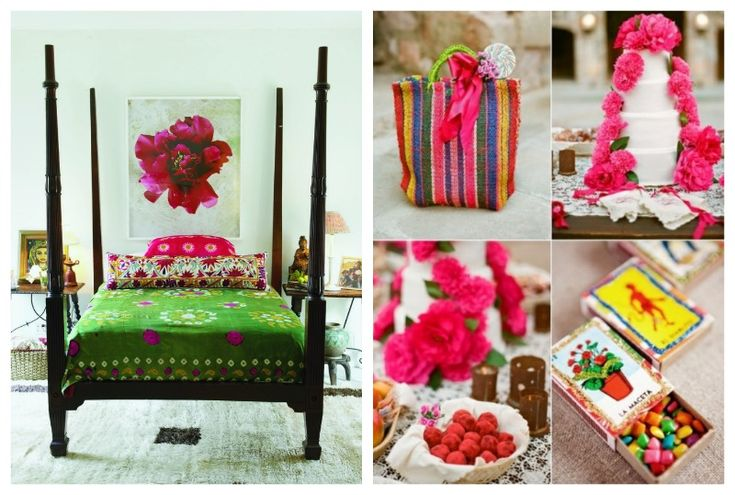 Emerald Green Interiors flower bedroom collage