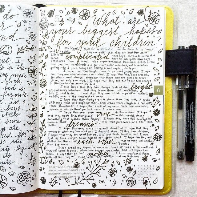Today's prompt is from @lifecapturedinc: my biggest hopes for my children. I always get emotional and ramble on when I'm writing about my sons  #journal #artjournal #hobonichi #planner #diary #notebook #filofax #mtn #midori #scrapbooking #stationery #pens #doodles #doodling #type #typography #letters #lettering #handwriting #handlettering #lettering