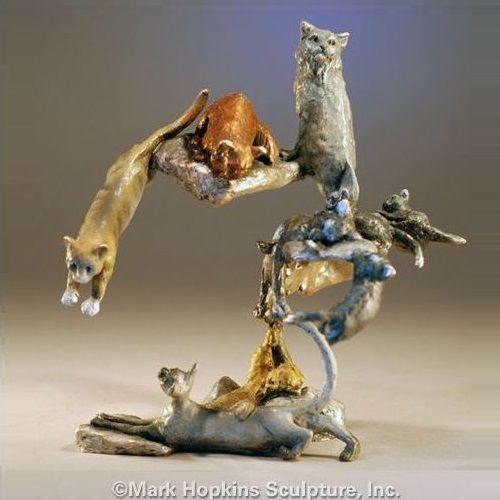 Cat Sculpture | Nine Lives | Bronze | Mark Hopkins