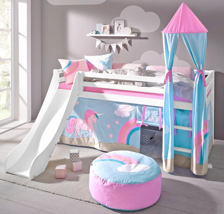 Tunnel Kinderbett Unicorn Bunk Bed With Slide | Bunk Bed With Slide, Little ...