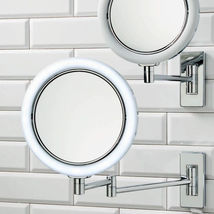 Beautiful Modern High End Luxurious Illuminated Wall Mounted Plug In Magnifying Mirror Chrome