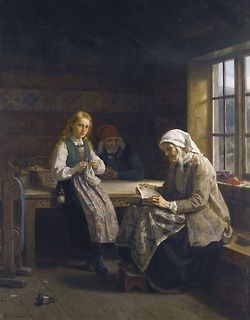 catonhottinroof: Adolph Tidemand HARDANGER INTERIOR, YOUNG GIRL KNITTING