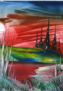 colourful valley encaustic art painting one of mine