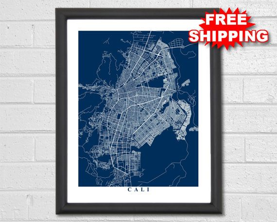 Cali Map Art Map Print Colombia Map Print by TheMapCollection