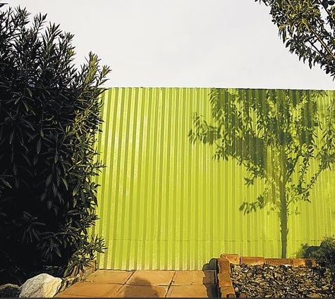 Outdoors: Corrugated Metal Fence Painted Green : Remodelista