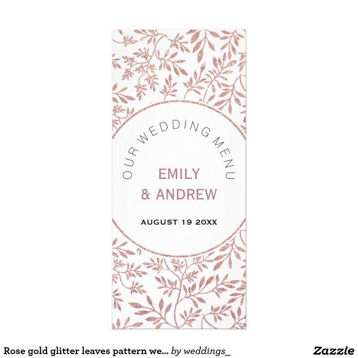 Rose gold glitter leaves pattern wedding menu card