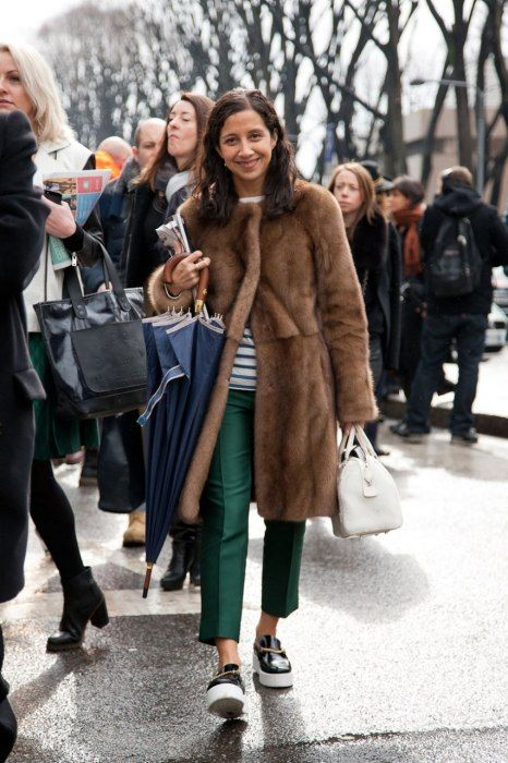 Faux coat and sneakers. Best-Dressed Street Style at Milan Fashion Week Fall 2013 | Vanity Fair