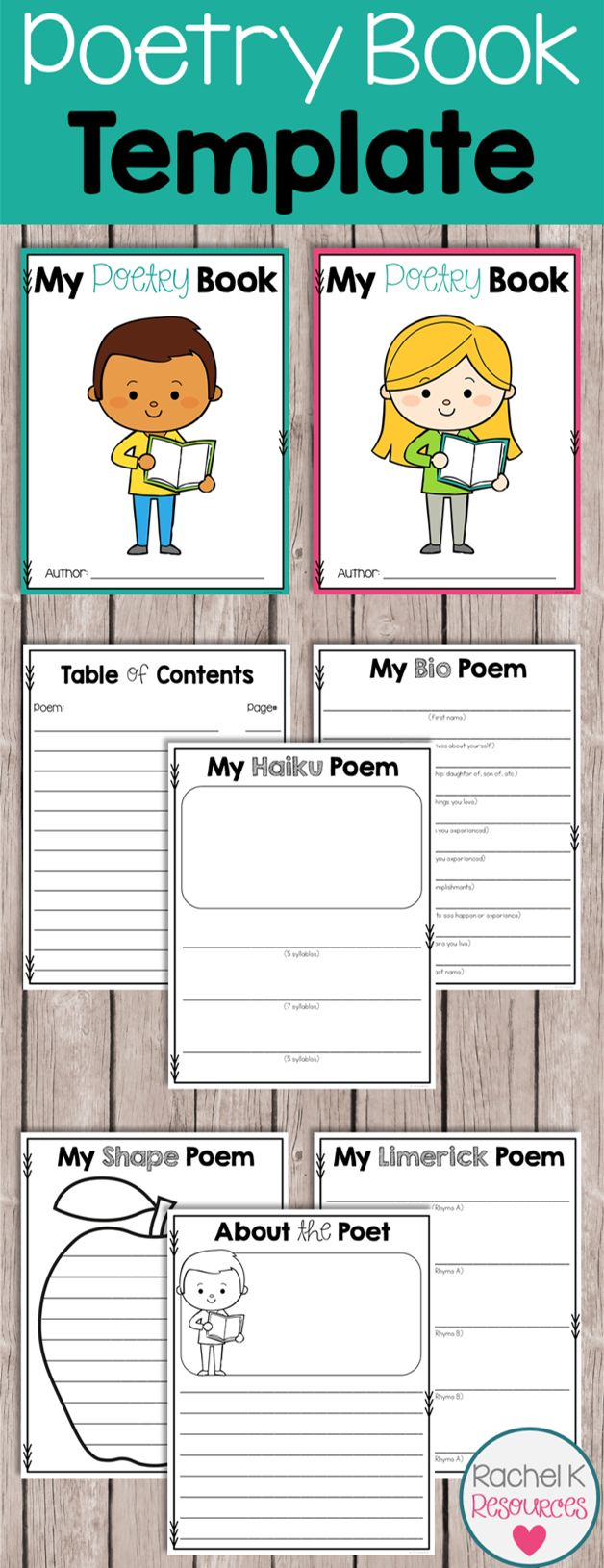Students can create their very own poetry books with this template! Poems include acrostic, haiku, cinquain, quatrain, limerick, shape, and more! Every poem has the option of writing a half page with space to color, or writing a full page. Title pages, table of contents, and about the poet pages are included to make the book complete!