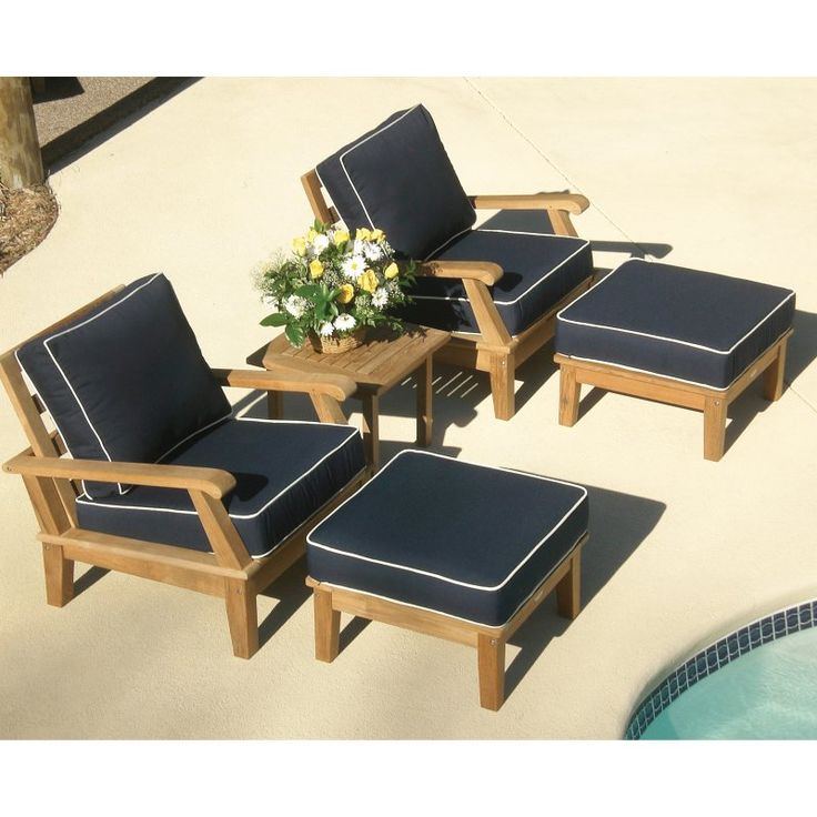 Outdoor Royal Teak Miami Deep Seating Chat Set   P52NA