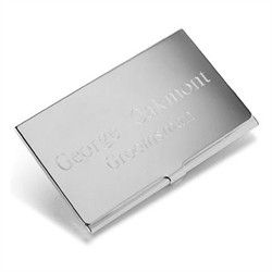 Personalized Engraved Silver Plated Business Card Case