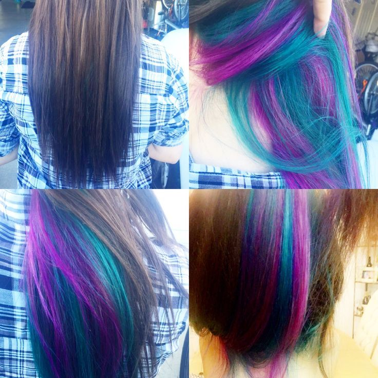 Peek-a-boo underneath purple and teal accent highlights. Can't see the color unless the hair is moved or pulled to the front. Adds some drama without being obnoxious.