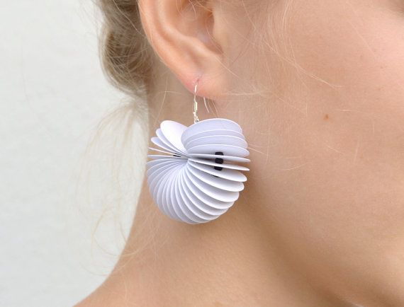 white: Dangle Earrings CARTA made of cardstock by PaperStatement