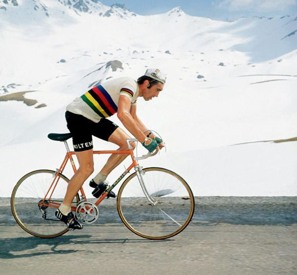 Eddy Merckx is pictured here climbing the Alps on his way to winning the 1971 Critérium du Dauphiné Libéré, an eight stage event that best suits the mountain specialists. Widely considered to be the greatest ever, the Belgian cyclist won the Tour de France five times (1969, 70, 71, 72, 74), the Giro d'Italia five times (1968, 70, 72, 73, 74) and the Vuelta a España once (1973).