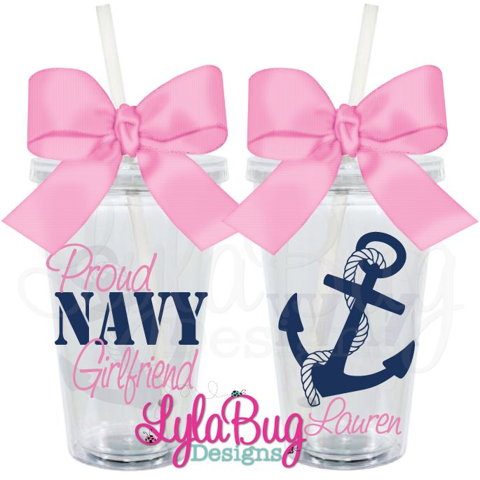 Proud Navy Girlfriend Tumbler Custom Personalized Acrylic Tumblers Navy Wife, Navy Girlfriend, Navy Mom  LylaBug Designs
