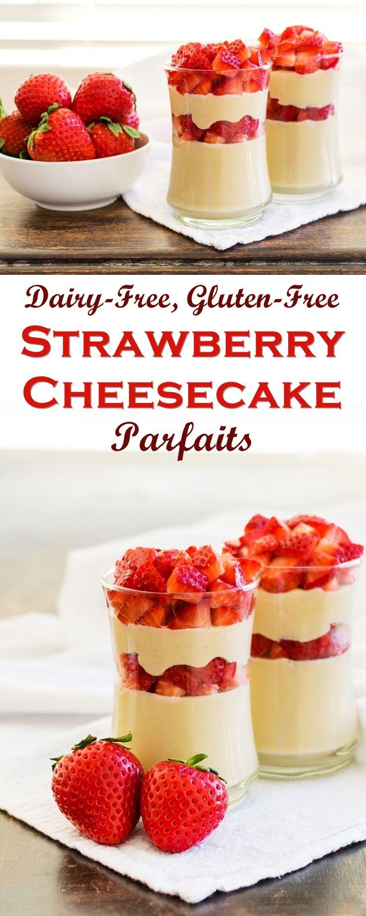 Dairy-Free Strawberry Cheesecake Parfaits Recipe - healthy, creamy, indulgent, gluten-free, vegan, and easy!