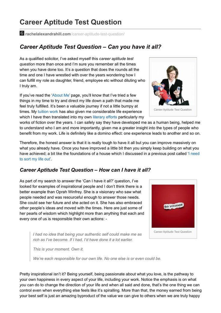 Best 25+ Career aptitude test ideas on Pinterest