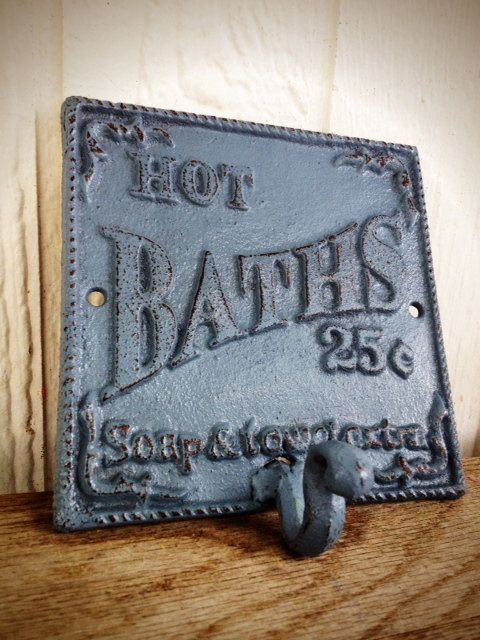 BOLD slate blue grey BATH sign towel hook    vintage inspired    cottage  chic  Bath SignShabby Chic BathroomsIron. Best 25  Bath sign ideas on Pinterest   Small bathroom ideas  Half
