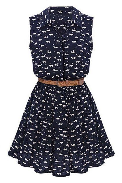 ROMWE   ROMWE Little Cats Print Belted Sleeveless Dress, The Latest Street Fashion