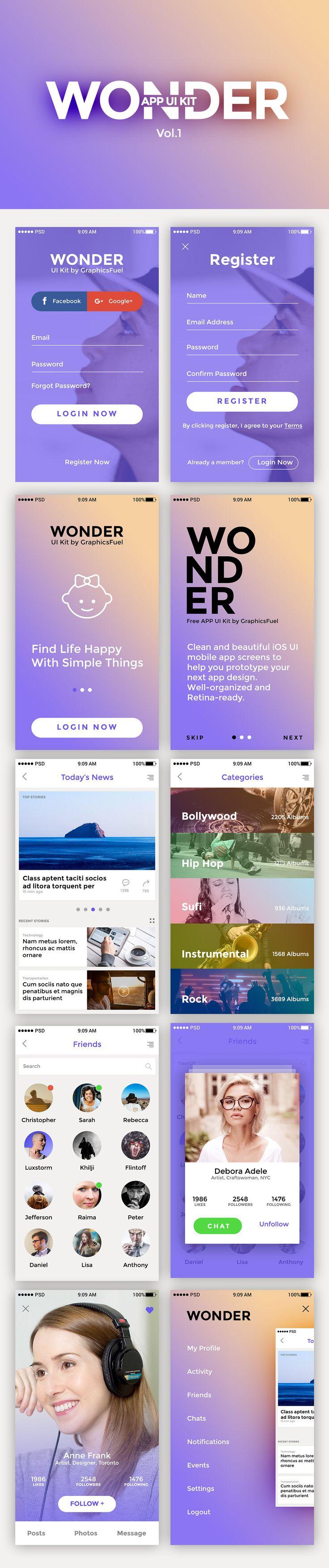 WONDER: Free App UI Kit #freeuikit #appuikit
