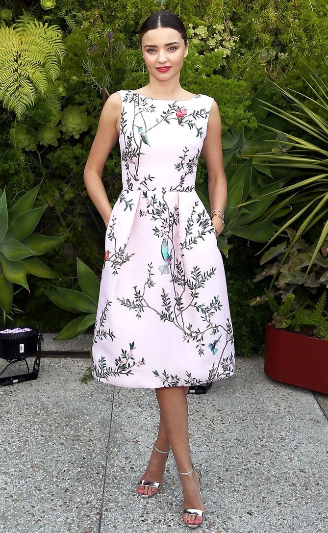Miranda Kerr in a floral tea-length dress