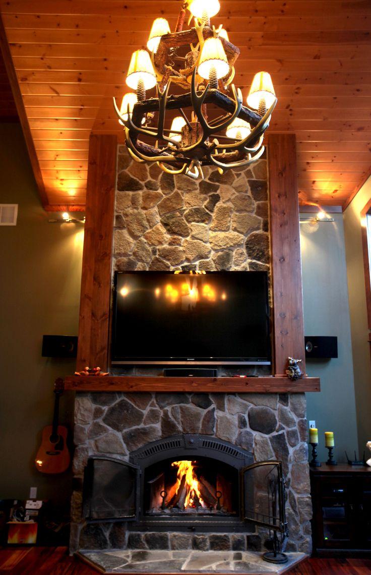 Cottage stone fireplace