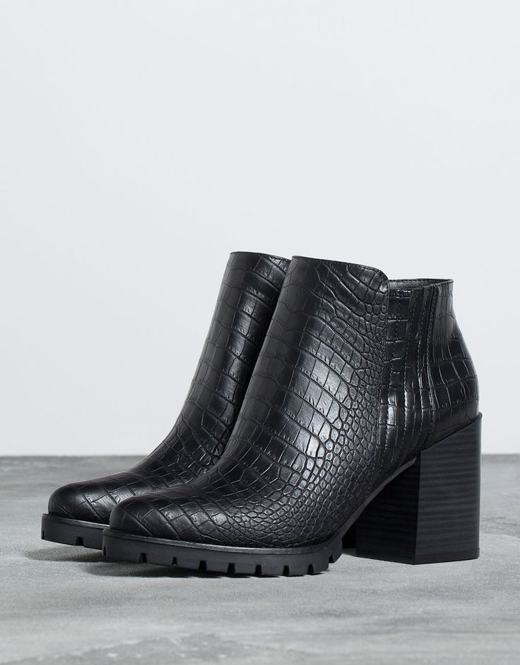 embossed ankle boot with heel. Discover this and many more items in Bershka with new products every week