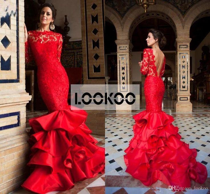 Red evening dress knee length 8mm