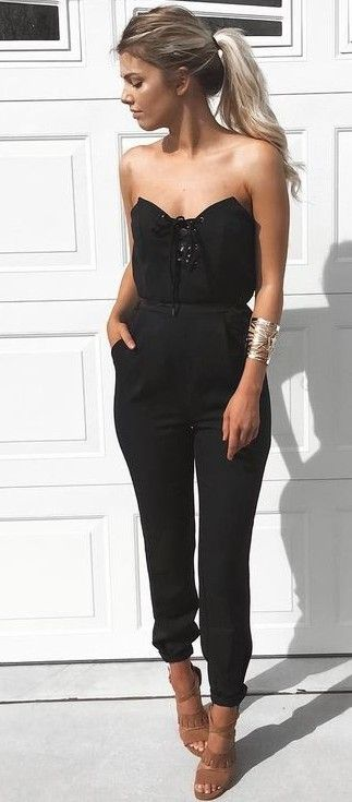 Black Strapless Jumpsuit, Camel Sandals | Kelsey Floyd                                                                             Source