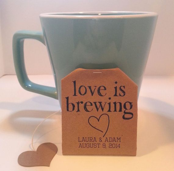 Tea Bag Favors Personalized Tea Bags Brown Kraft by PretTEACrafTEA, $6.99