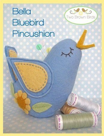 """""""Bella Bluebird Pincushion"""" designed by Fiona Tully for Two Brown Birds."""