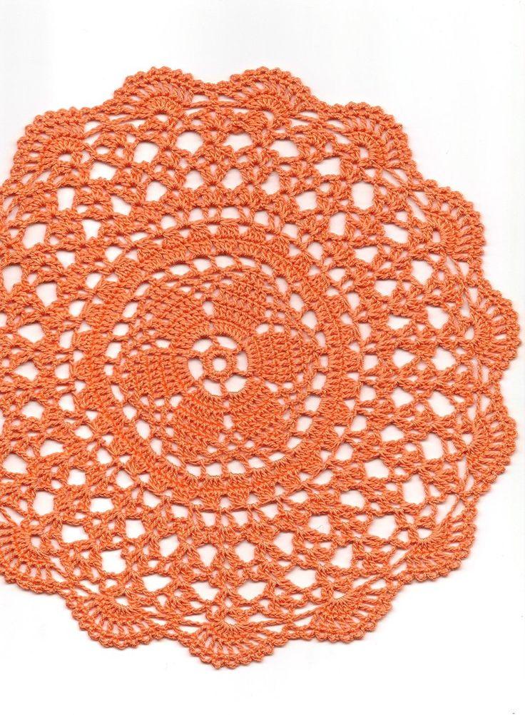 Crochet doily, lace doilies, crocheted place mat, centre piece, doily tablecloth, napkin, handmade doilies, orange, Halloween