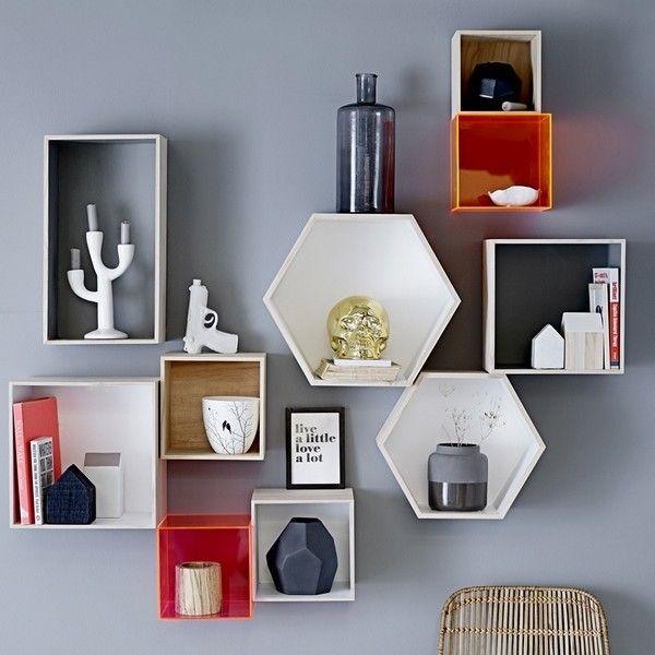 Etagère murale boîte hexagonale bois blanc bloomingville 509038