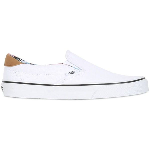 Vans Women Classic Slip-on Canvas Sneakers (€60) ❤ liked on Polyvore featuring shoes, sneakers, vans, white, white slip on shoes, slip on shoes, leather sneakers, slip on sneakers and vans shoes
