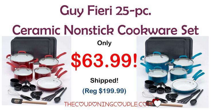 AWESOME DEAL! The Guy Fieri 25 Pc Nonstick Cookware Set is only $63.99 (reg $199.99)! Fantastic gift or grab for yourself at this price!   Click the link below to get all of the details ► http://www.thecouponingcouple.com/guy-fieri-25-pc-nonstick-cookware-set/ #Coupons #Couponing #CouponCommunity  Visit us at http://www.thecouponingcouple.com for more great posts!