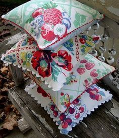 More pillows. Made from vintage tablecloth remnants - (so Into Vintage)