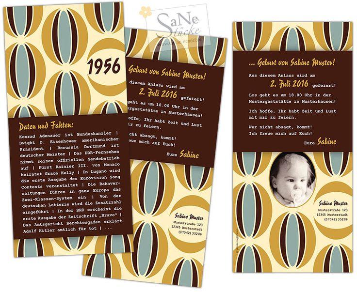 Die ultimative Einladungskarte zum Geburtstag für alle, die 1956 geboren sind, im Retro-Stil!