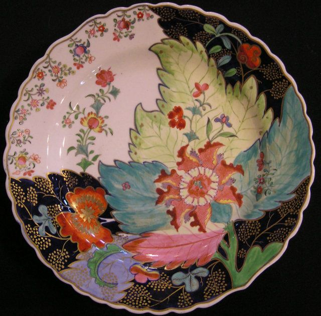 "Coalport Porcelain Plate with ""Tobacco Leaf"" Pattern"