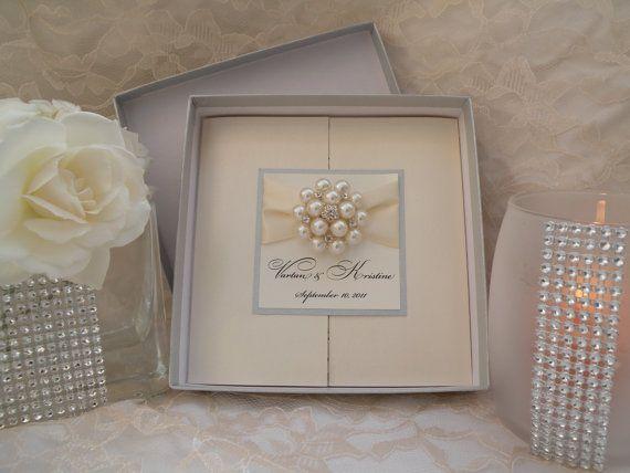 Brooch Boxed Invitations - Large Brooch Invitations - Couture Wedding Invitations - Box Invites